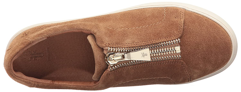 FRYE Women's Lena Zip Low Fashion Sneaker B01MZ2X46T 9.5 B(M) US|Tan Soft Oiled Suede