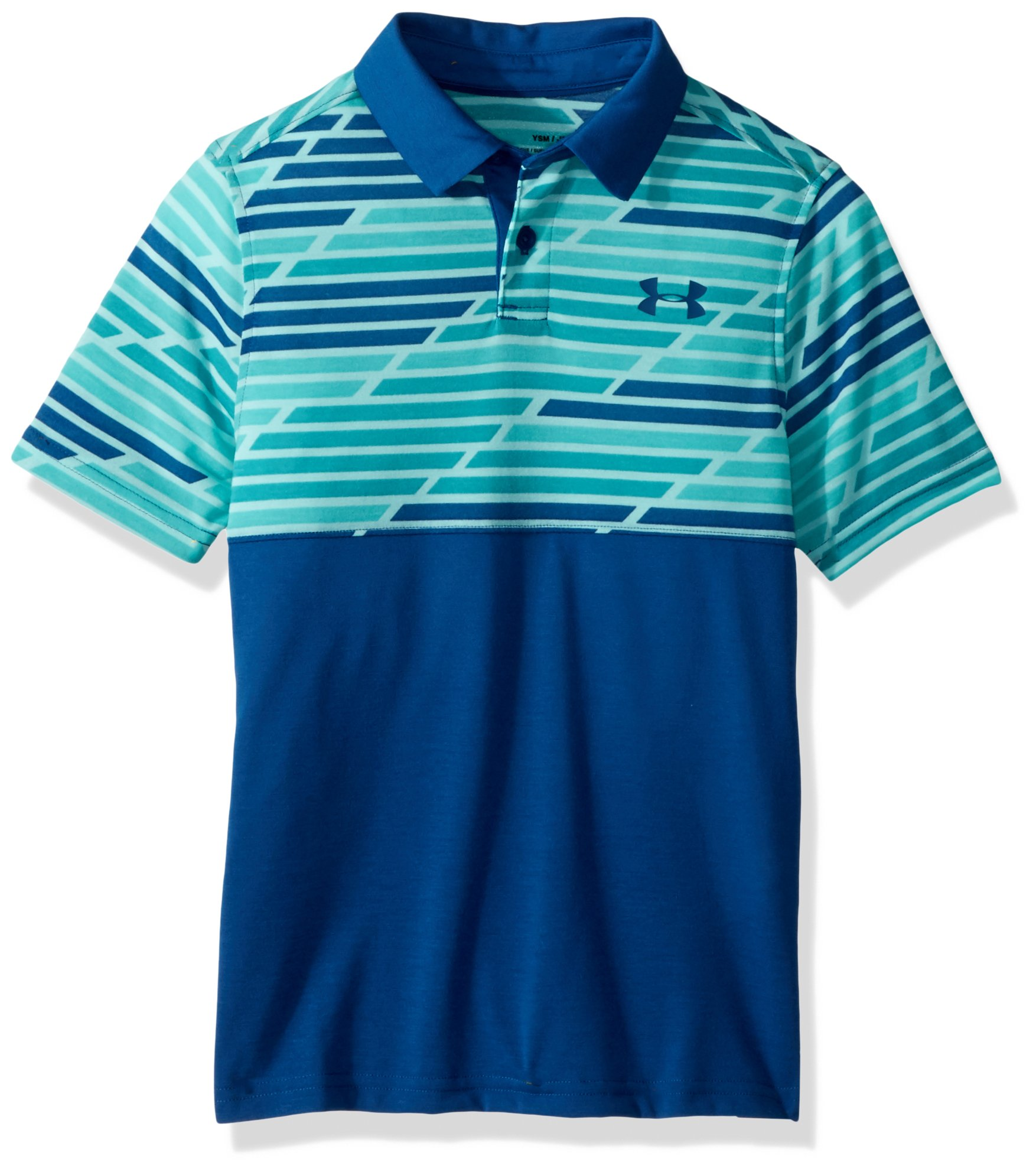Under Armour Boys Thread borne Blocked Polo Tee, Teal Punch (594)/Moroccan Blue, Youth X-Small