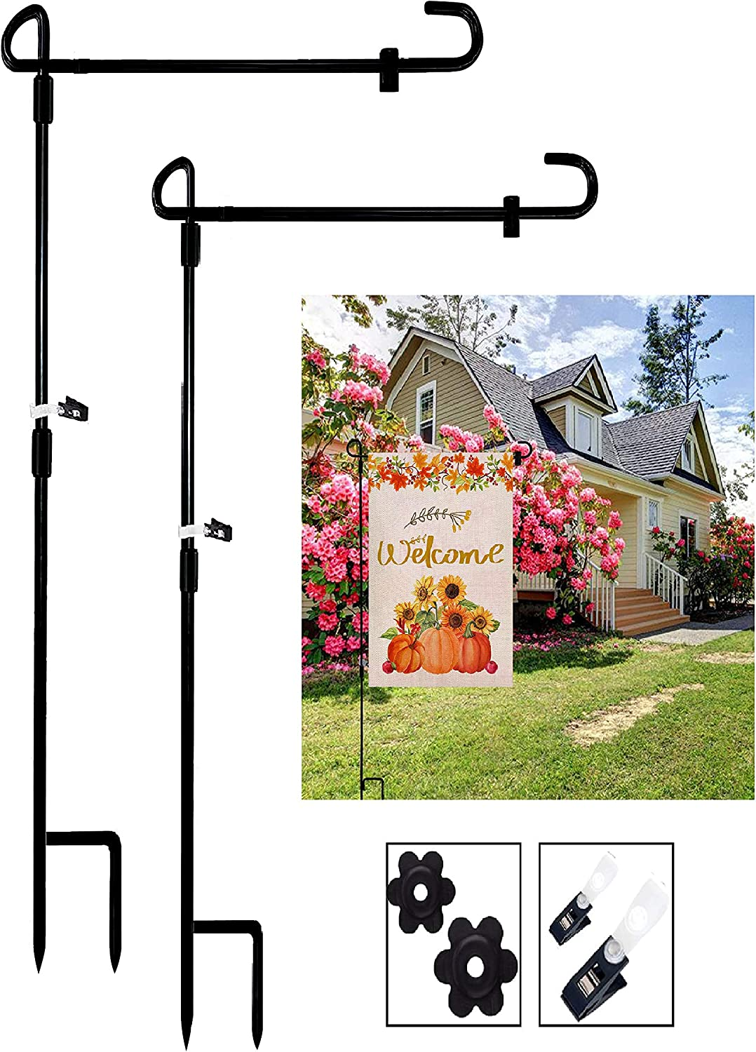 B.BLUERIDGE 2 Pack Garden Flag Holder Stand with Wind Clip and Stopper, Easy Install Coated Metal Construction Garden Flag Pole Set for Yard Seasonal and American Flags (Flag not Included)