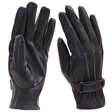 guanti da donna di alta qualità guanti in velluto di cuoio nero Comodo caldo