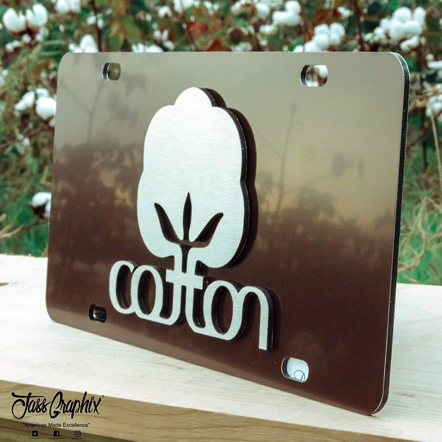Brown JASS GRAPHIX 2D Cotton Farmer License Plate Brushed Aluminum Heavy Duty Cotton Car Tag Made in USA Officially Licensed