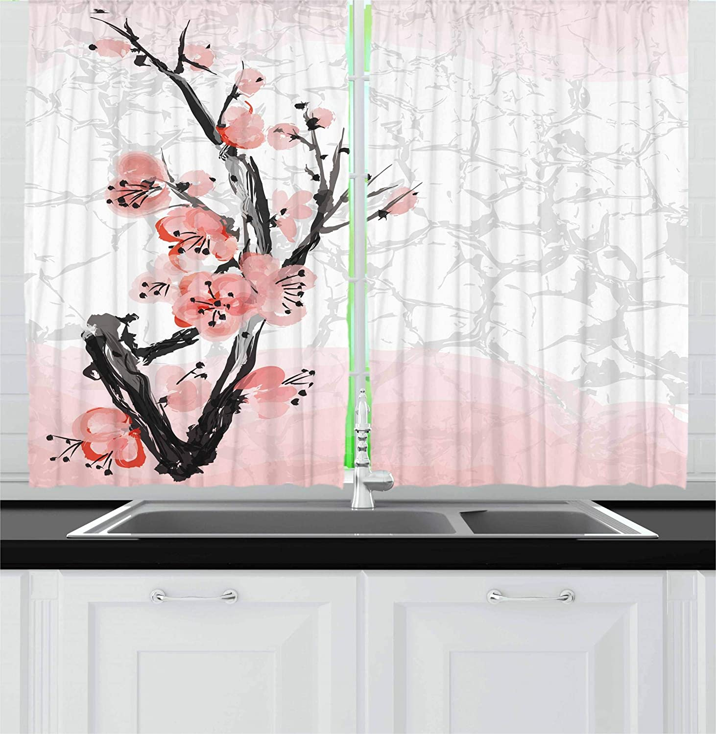 Ambesonne Floral Kitchen Curtains, Japanese Cherry Blossom Sakura Tree Branch Soft Pastel Watercolor Print, Window Drapes 2 Panels Set for Kitchen Cafe, 55W X 39L Inches, Coral Light Pink Grey