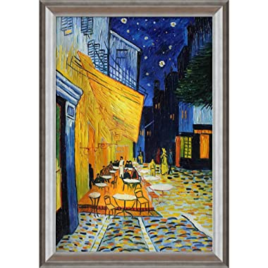 overstockArt Cafe Terrace at Night Framed Oil Reproduction of an Original Painting by Vincent Van Gogh, Athenian Silver Frame, Antique Silver Finish