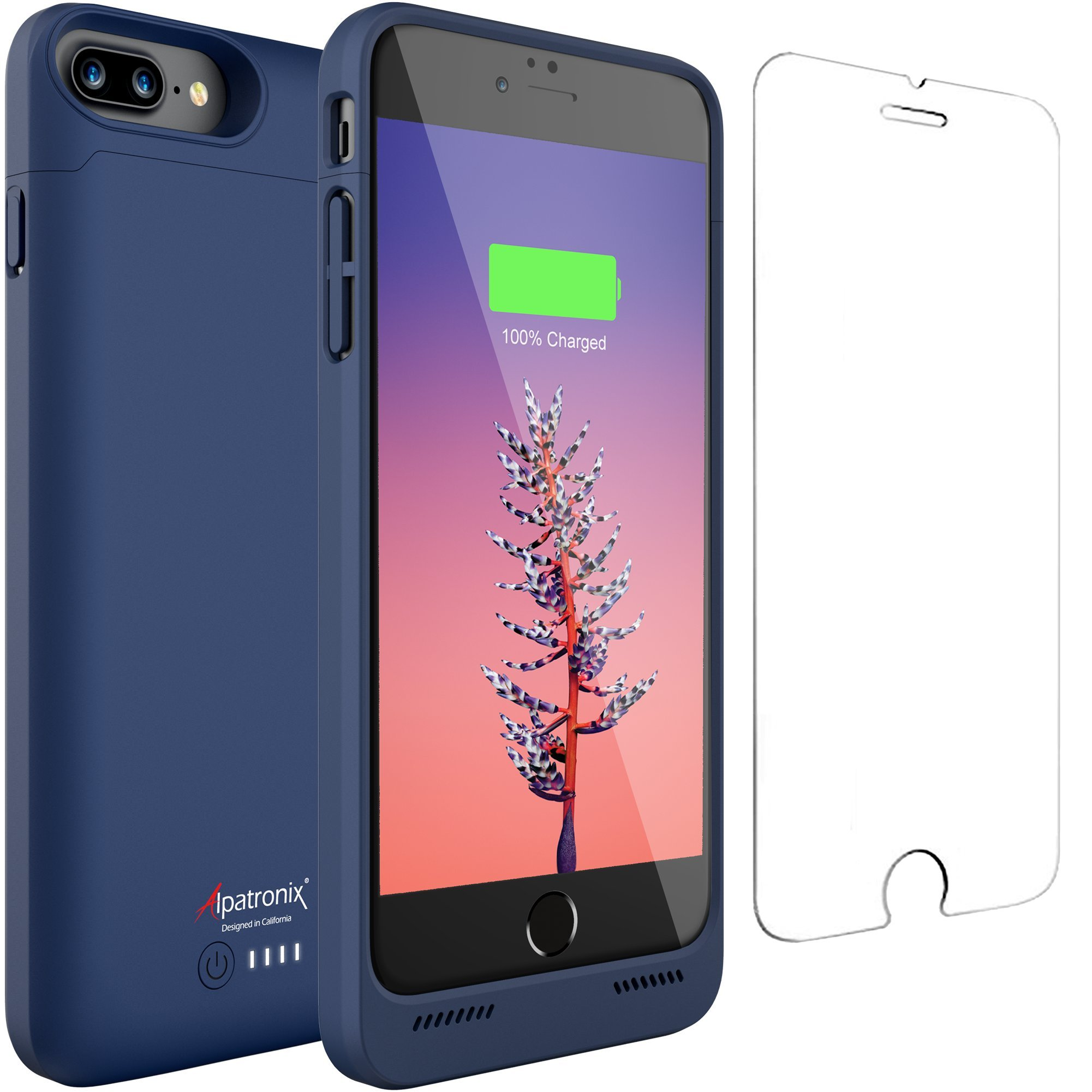 iPhone 8 Plus / 7 Plus Battery Case Qi Wireless Charging Compatible, Alpatronix BX190plus 5.5-inch 5000mAh Rechargeable Protective Portable Charger for iPhone 8+/7+ Juice Bank Power Pack - Blue