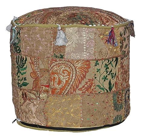 Amazon.com: Indian clásico Otomano Puf Otomano Cover,, salón ...
