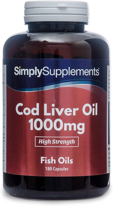 Aceite de Bacalao 1000 mg - ¡Bote para 6 meses! - 180 Cápsulas - SimplySupplements