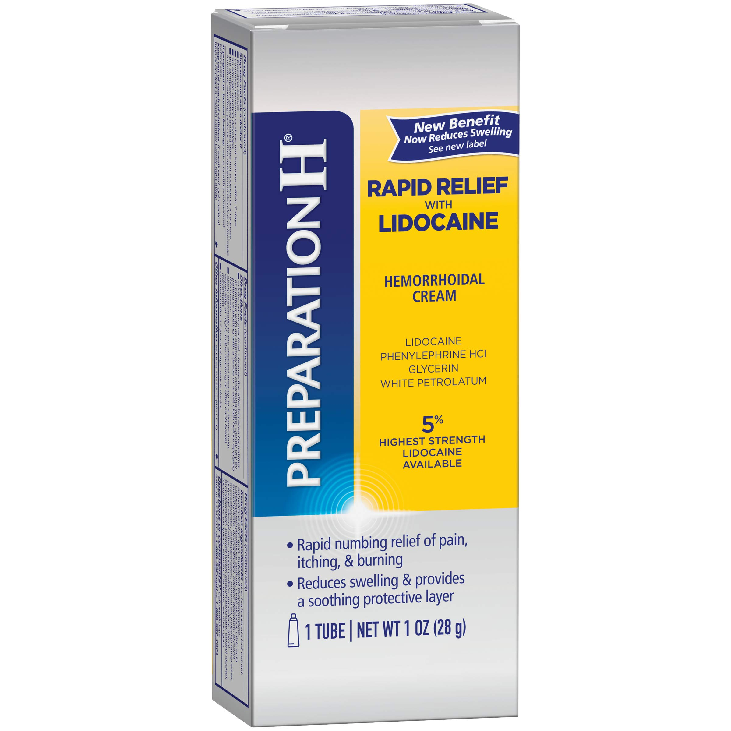 Preparation H Rapid Relief with Lidocaine Hemorrhoid Symptom Treatment Cream (1.0 Ounce Tube), Numbing Relief for Pain, Burning & Itching