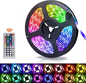 LED Strip Lights, 16.4ft RGB LED Light Strip 5050 LED Tape Lights - Waterproof, Color Changing LED Strip Lights with Remote for Home Kitchen Decoration