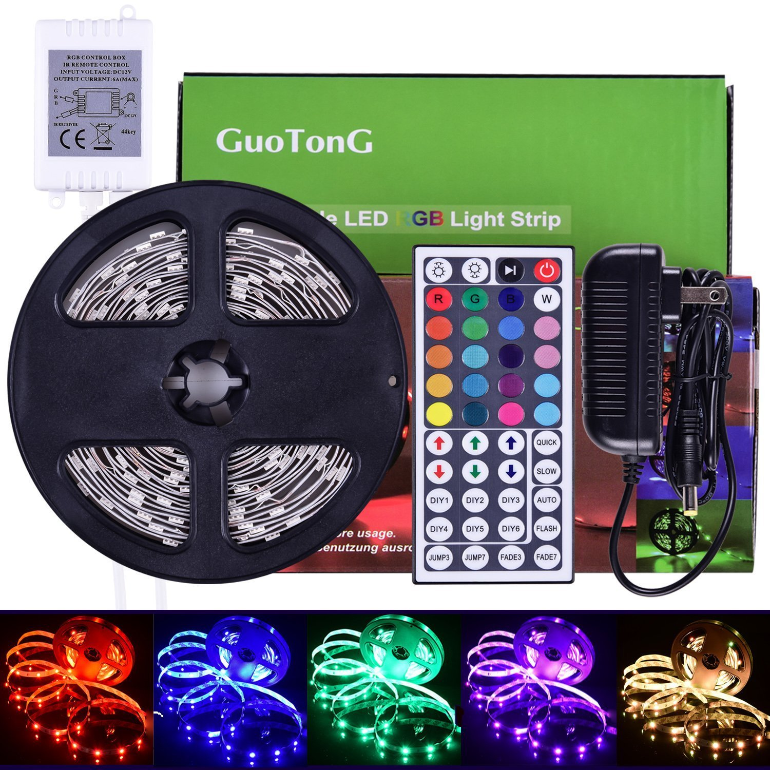 GuoTonG 16.4ft/5m LED Strip Light Kit, 150 Units RGB 5050 Leds, Color Changing, Non-Waterproof 12V DC Light Strips,44 Key IR Remote Controller with Power Supply For Christmas Holiday Home Kitchen Car