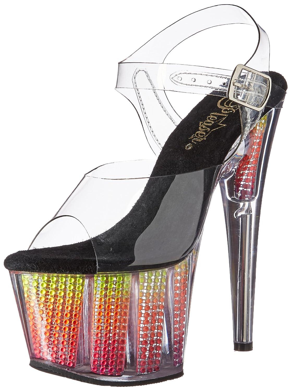 Pleaser Women's Ado708srs/c/Nmc Platform Sandal B01MTCUUPX 7 B(M) US|Clr/Neon Multi Srs