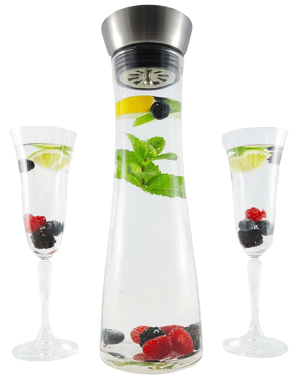 Jarra de agua, Botella de cristal, Garrafa 1 Litro con vertedor de acero inoxidable: Amazon.es: Hogar