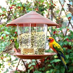 Hanizi Hanging Wild Bird Feeder Premium Plastic 40 Ounces