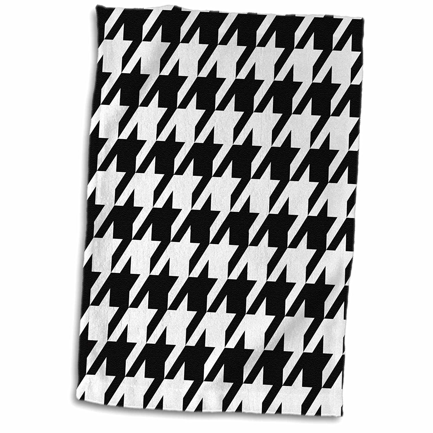 Large TWL/_35483/_1 Towel 15 x 22 3D Rose Black and White Hounds Tooth