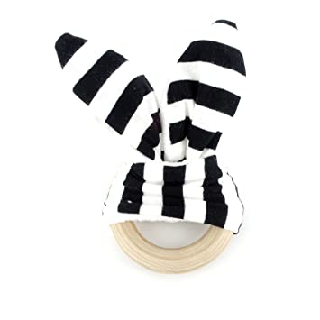 Amazon.com: BG Mini Negro White Stripes Pliegue conejo oreja ...