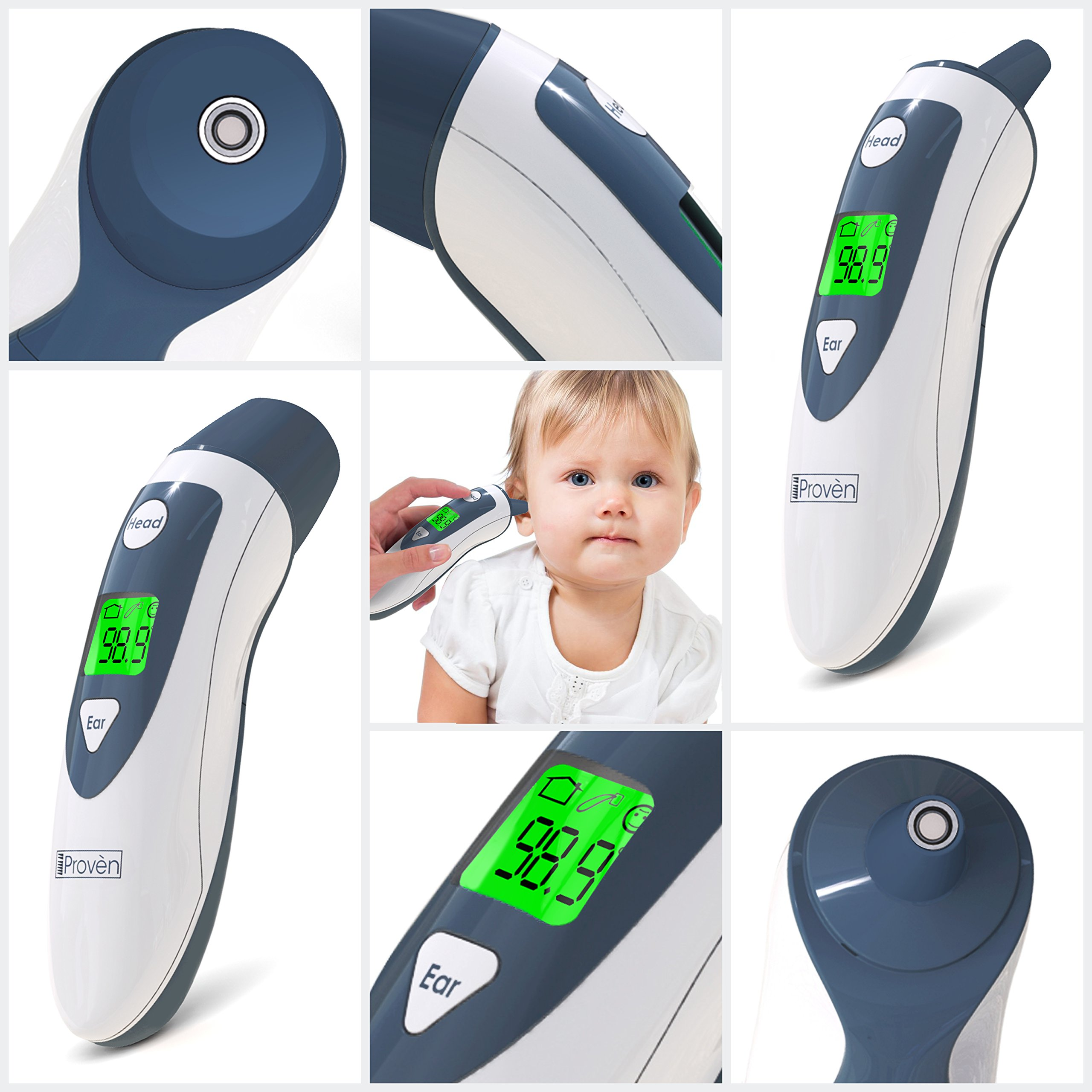 Baby Forehead Thermometer with Ear Function- iProven DMT489 Gray Cap - FDA and CE Approved - Clinical Accuracy Suitable for Baby, Infant, Toddler and Adults by iProvèn (Image #7)
