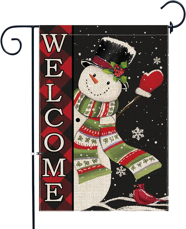pinata Christmas Garden Flag Snowman Winter 12 x 18 Double Sided, Welcome Buffalo Plaid Christmas Decorations Yard Flag Small Burlap Holiday Seasonal Snowflake Outdoor Decorative Sign Outside Banner