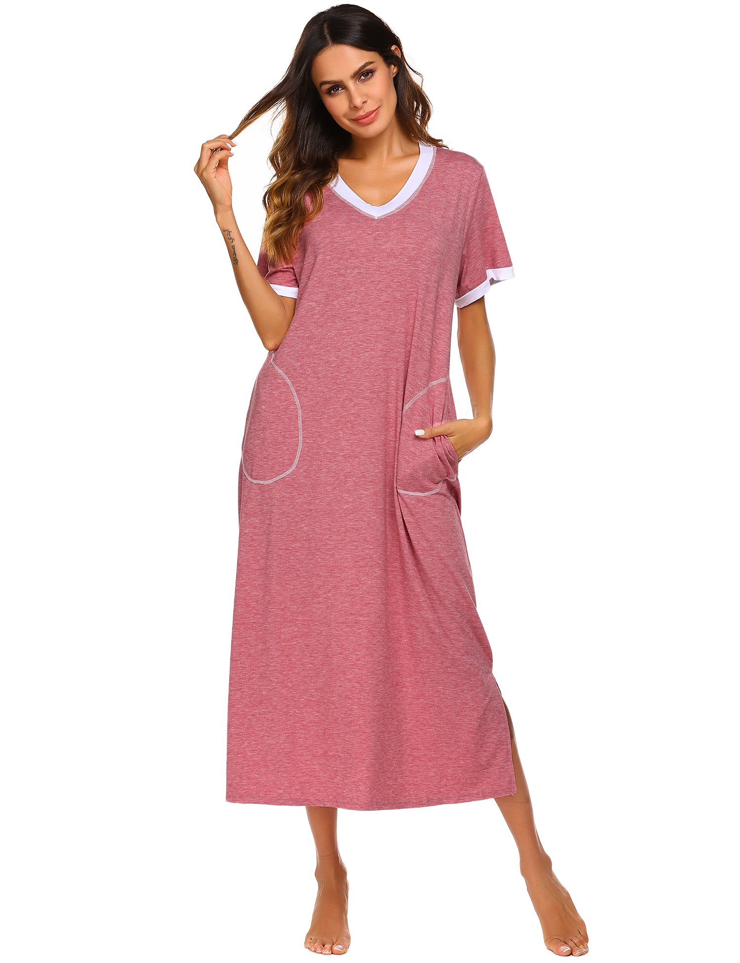 4c6cedc956 Ekouaer Loungewear Long Nightgown Women s Ultra-Soft Nightshirt Full Length  Sleepwear with Pocket product image