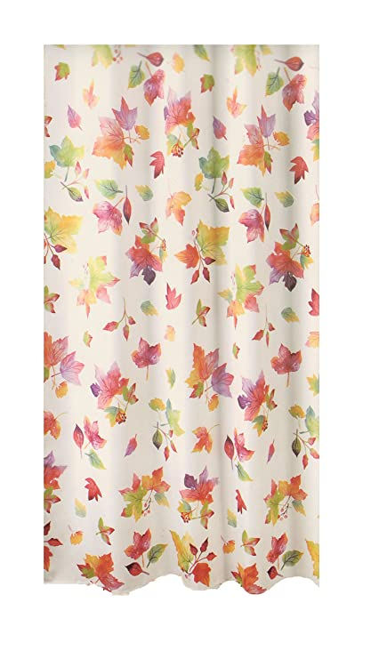 Celebrate Shower Curtain Autumn Harvest Falling Leaves Design Polyester Fabric 70 X 72 Inches