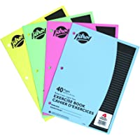 Hilroy Stitched Exercise Book, 3 Hole Punched, 4 Pack, 40 Pages, Assorted Color Covers