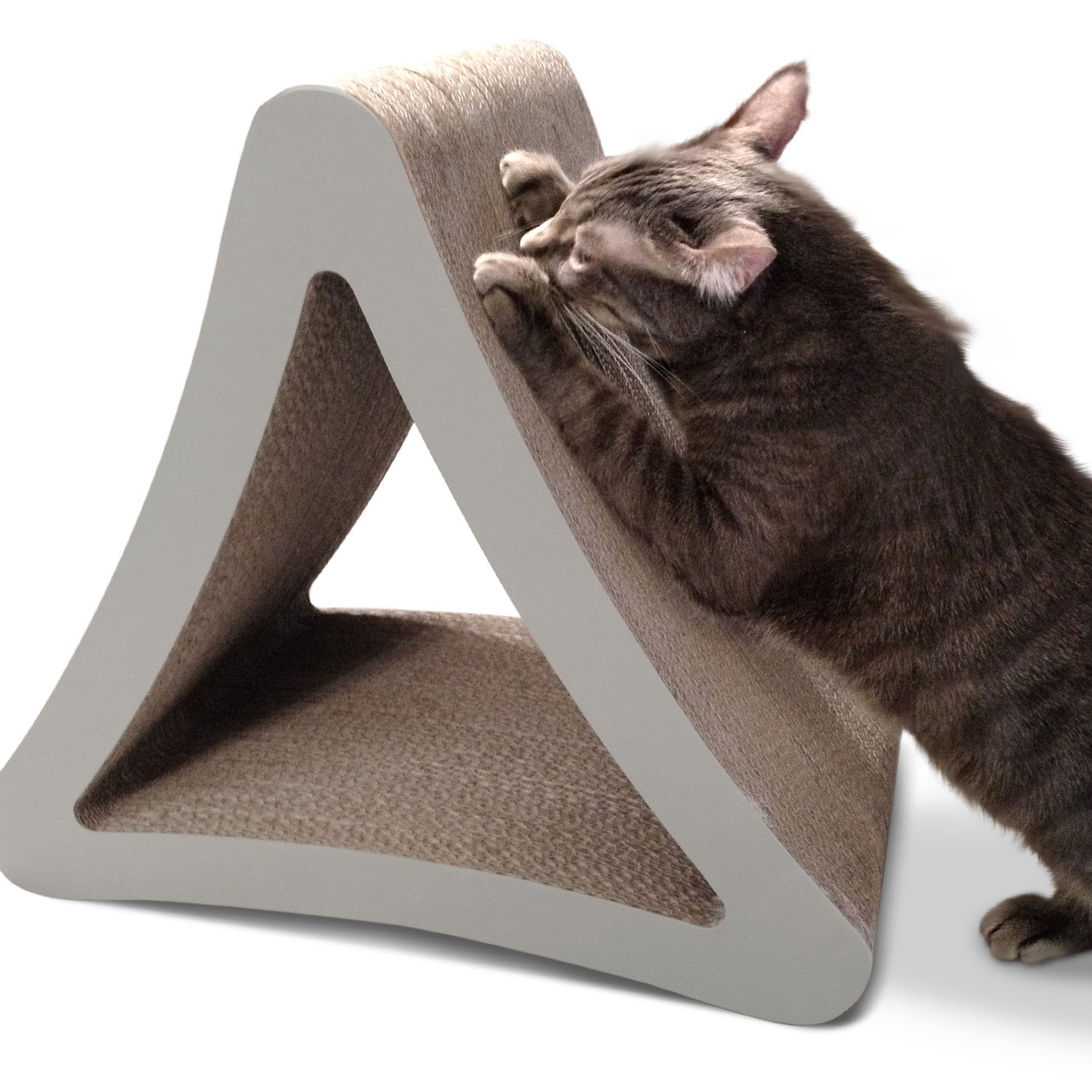PetFusion 3-Sided Vertical Cat Scratching Post (Standard Size, Warm Gray). [Multiple Scratching Angles to Match Your Cat's Preference] by PetFusion