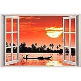 Paper Plane Design 3D Vinyl Wall Decal Sticker Wide Ocean Beach Sea View Window Framed Wall Poster for Home Décor (Sunset, 90 x 60 cm)