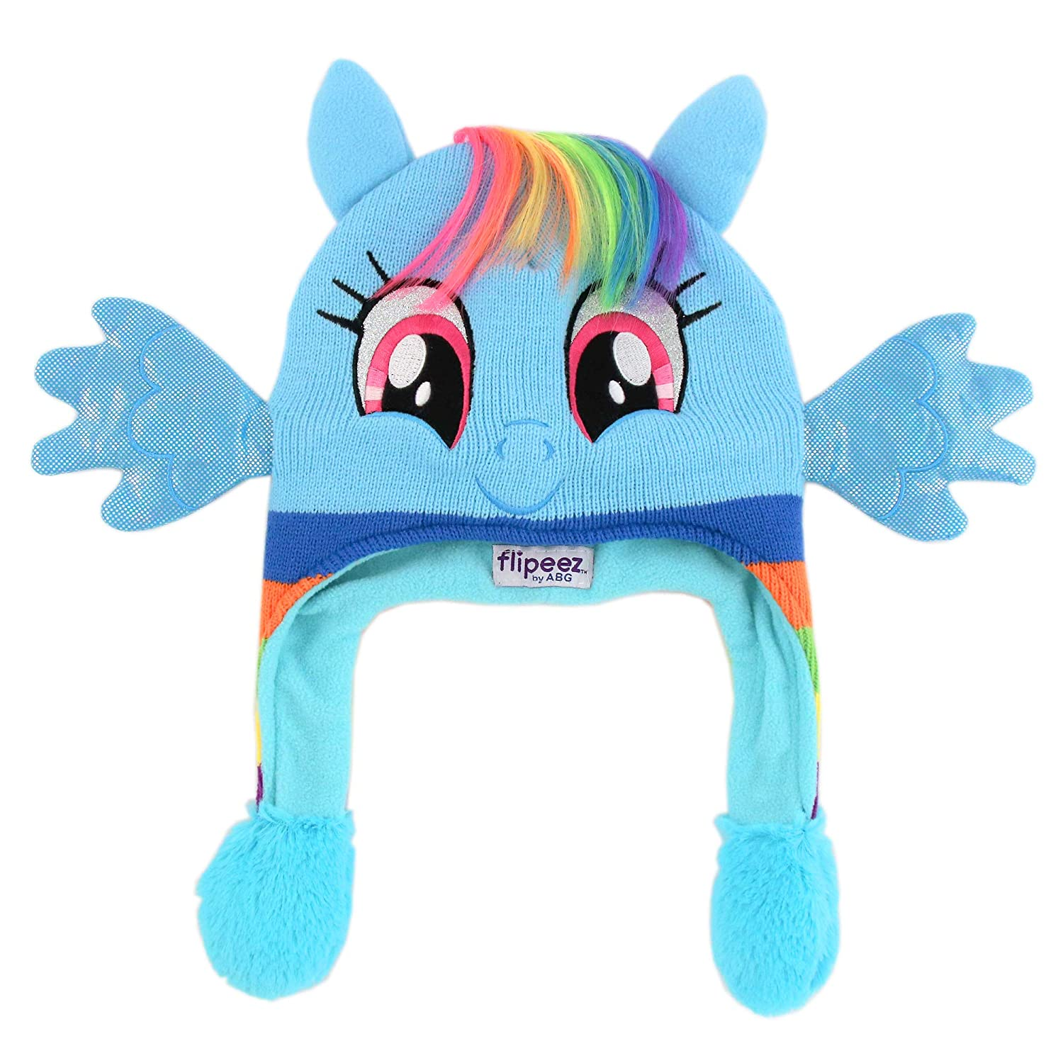 Hasbro Girls Little Pony Squeeze and Flap Fun Cold Weather Hat, blue/rainbow Age 4-7