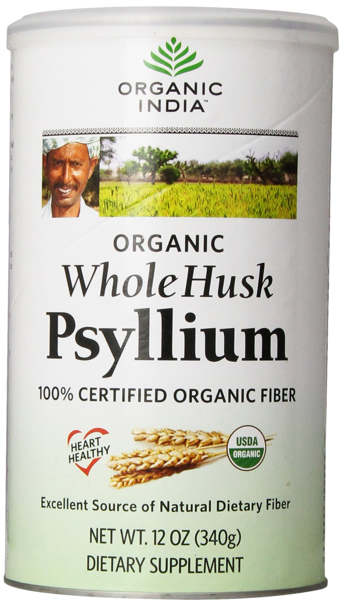 Organic India Whole Husk Psyllium, 12 Oz