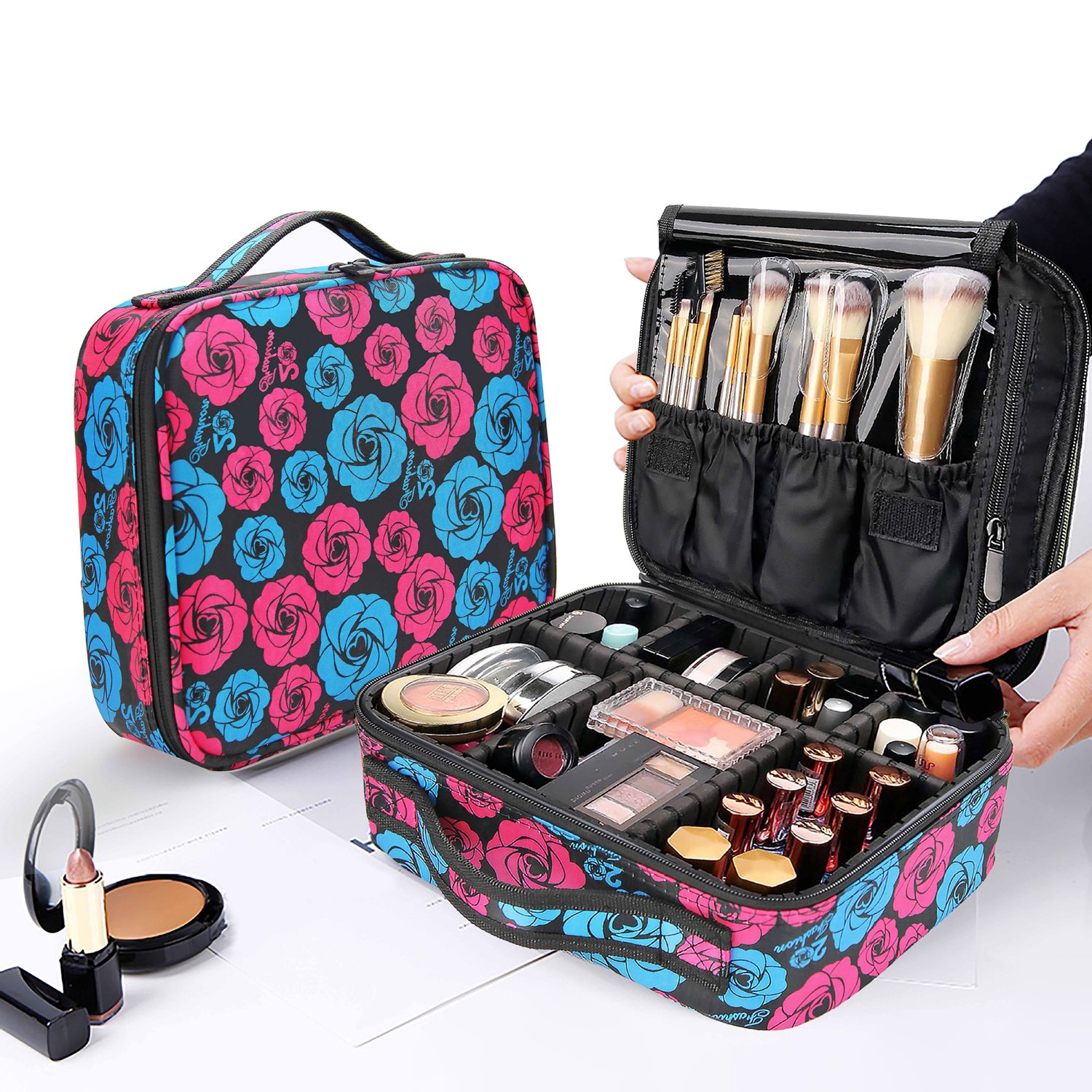 Makeup Organizer Case,Yolife Portable Cosmetic Bag Organizer with Brush Set Holder,Storage Case Travel Bag with Adjustable Dividers(10inch)