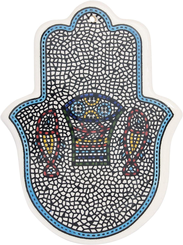 Armenian Ceramic Decorative Hamsa Wall Decor Tabgha (5.31x3.93 inch) Light Blue Border