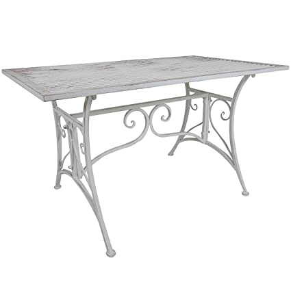 Titan Outdoor Rustic White Metal Coffee Table Porch Patio Garden Deck Decor