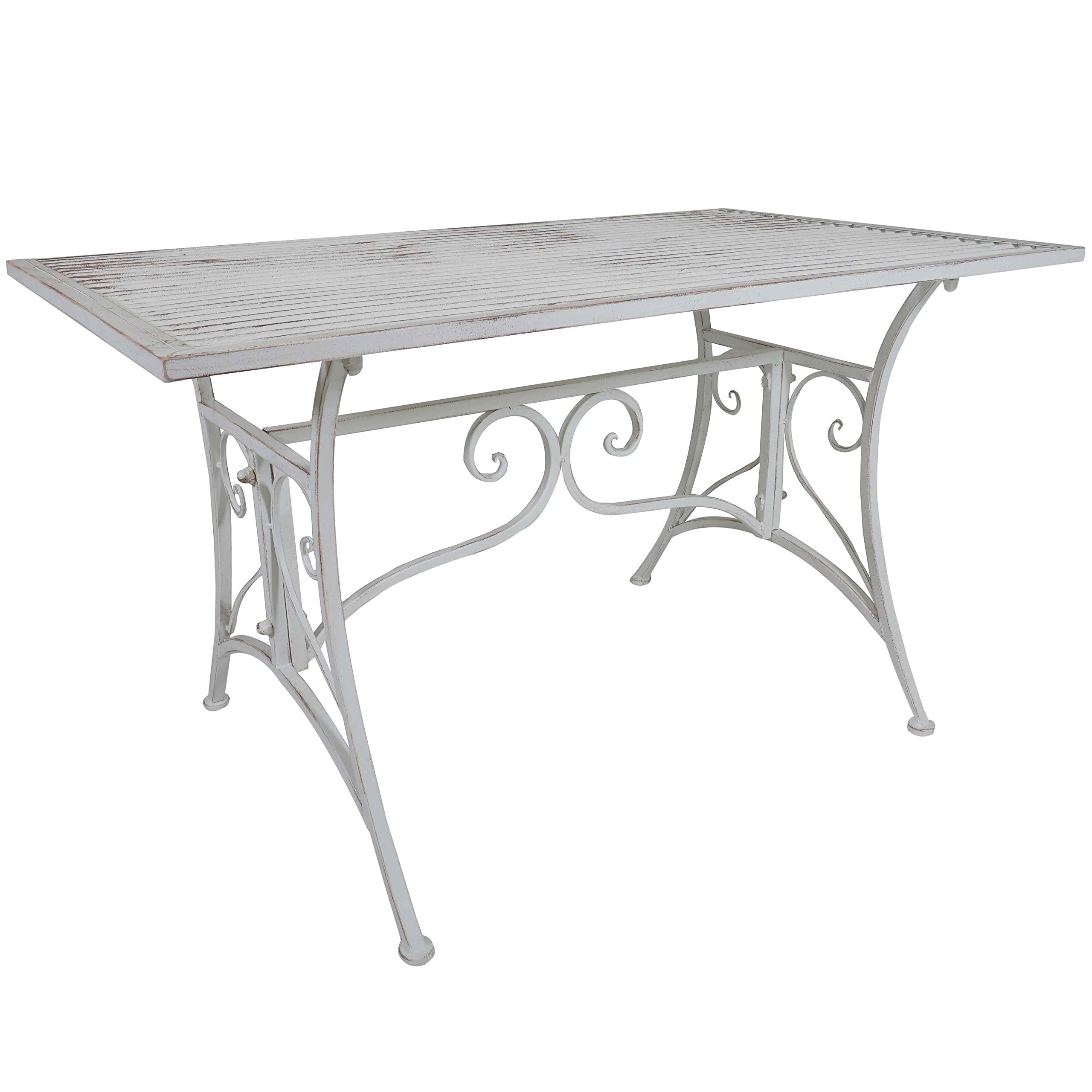 LOVE US Rustic Metal Patio White Coffee Table with Intricate Metal Work for Added Flare, Lightweight and Easily Portable, Sturdy Construction Designed for Stability + Expert Home Guide by LOVE US