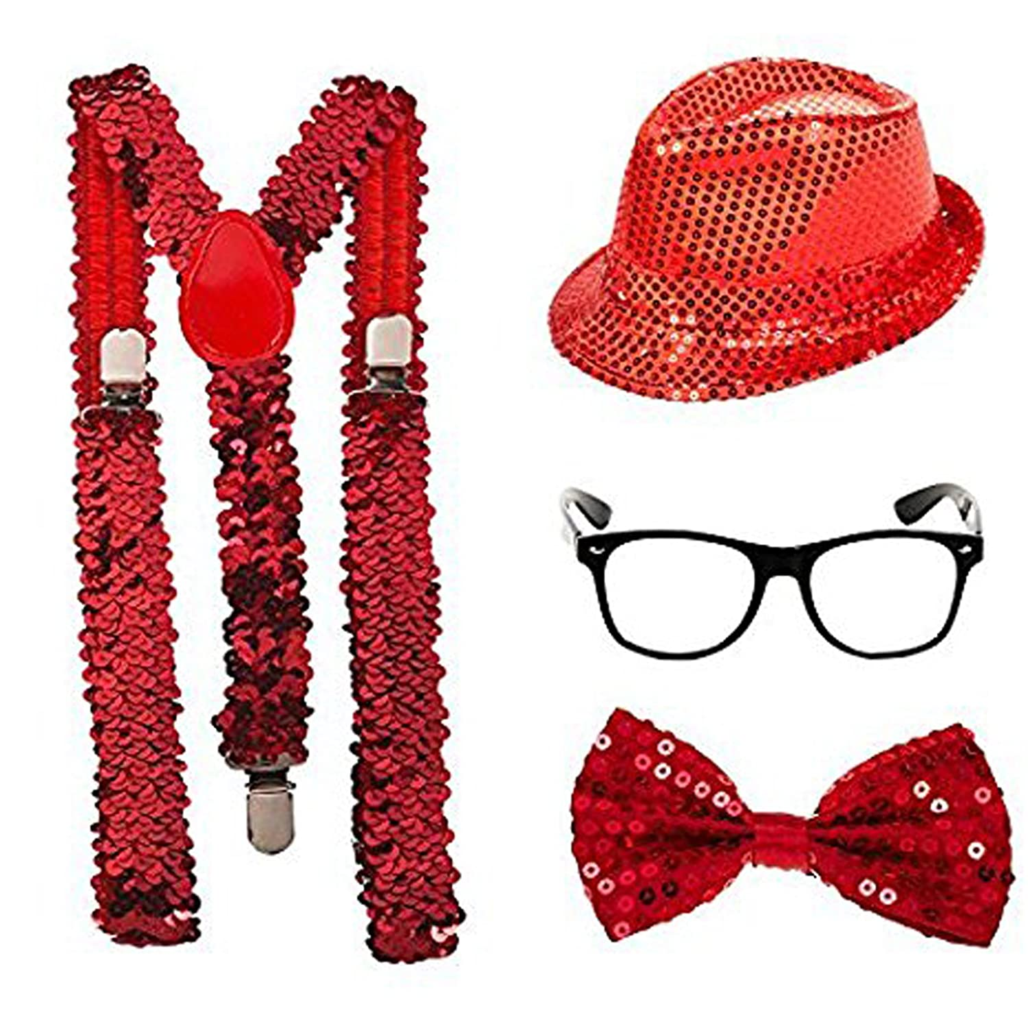 ADULTS SPARKLY SEQUIN HAT BRACES DICKY DICKIE BOW TIE FANCY DRESS PARTY SET