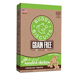Buddy Biscuits, Grain Free Oven Baked Crunchy & Teeny Treats for Small or Toy Breed dogs with Natural Flavor