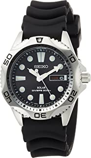 Seiko Mens SNE107P2 Rubber Analog with Black Dial Watch