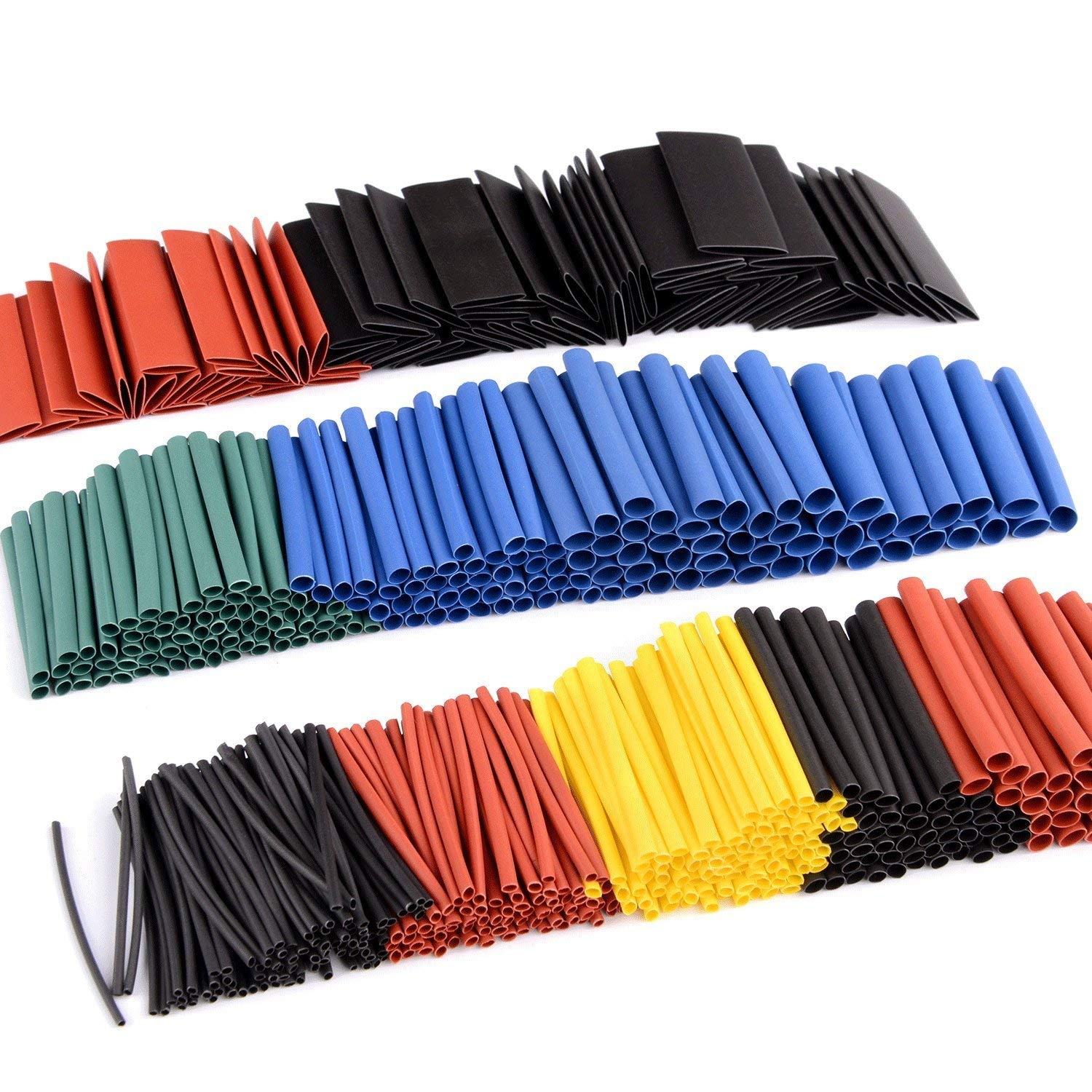 Electric Insulation Heat Shrink Tube Cable Sleeve Wrap Black 8 Sizes 150 Pcs