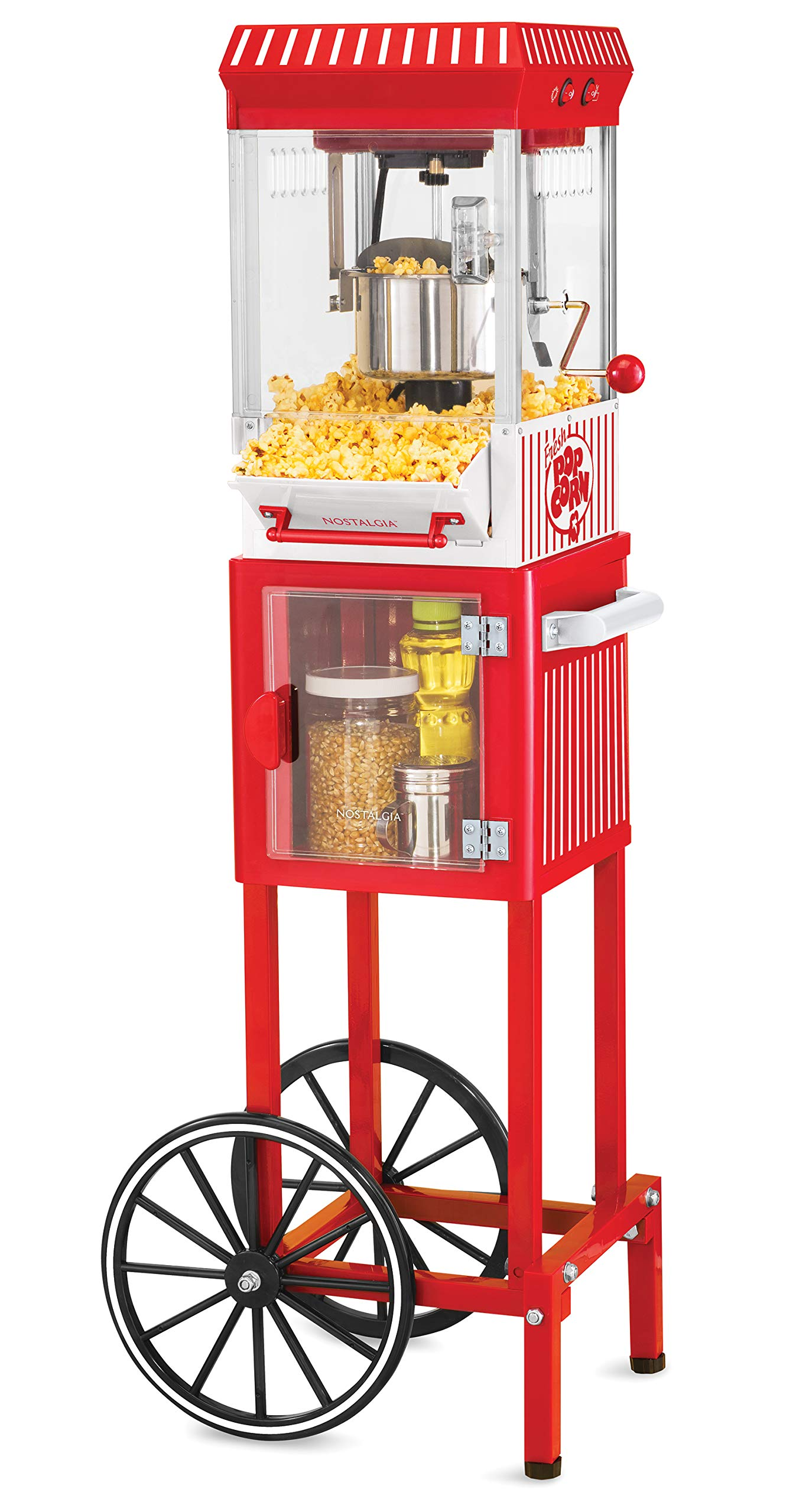 Nostalgia KPM200CART Vintage 2.5 oz Professional Kettle Popcorn & Concession Cart, 45'' Tall, Makes 10 Cups of Popcorn, with Kernel Measuring Cup, Oil Measuring Spoon & Metal Scoop by NOSTALGIA