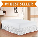 Elegant Comfort Luxurious Premium Quality 1500 Thread Count Wrinkle and Fade Resistant Egyptian Quality Microfiber Multi-Ruffle Bed Skirt - 15inch Drop, Queen, White