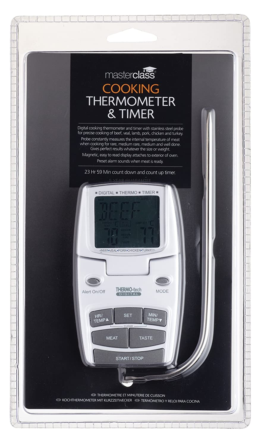 Amazon.com: Digital Meat Thermometer/Food Probe & Timer - Easy Cooking/Roast: Meat Thermometers: Kitchen & Dining