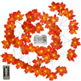Qomalaya Remote Control Lighted Fall Garland,Battery Powered Maple Leaf String Lights Thanksgiving Decorations Festival Christmas Decor 16.5 Feet 50 LED String Lights Thanksgiving Gift