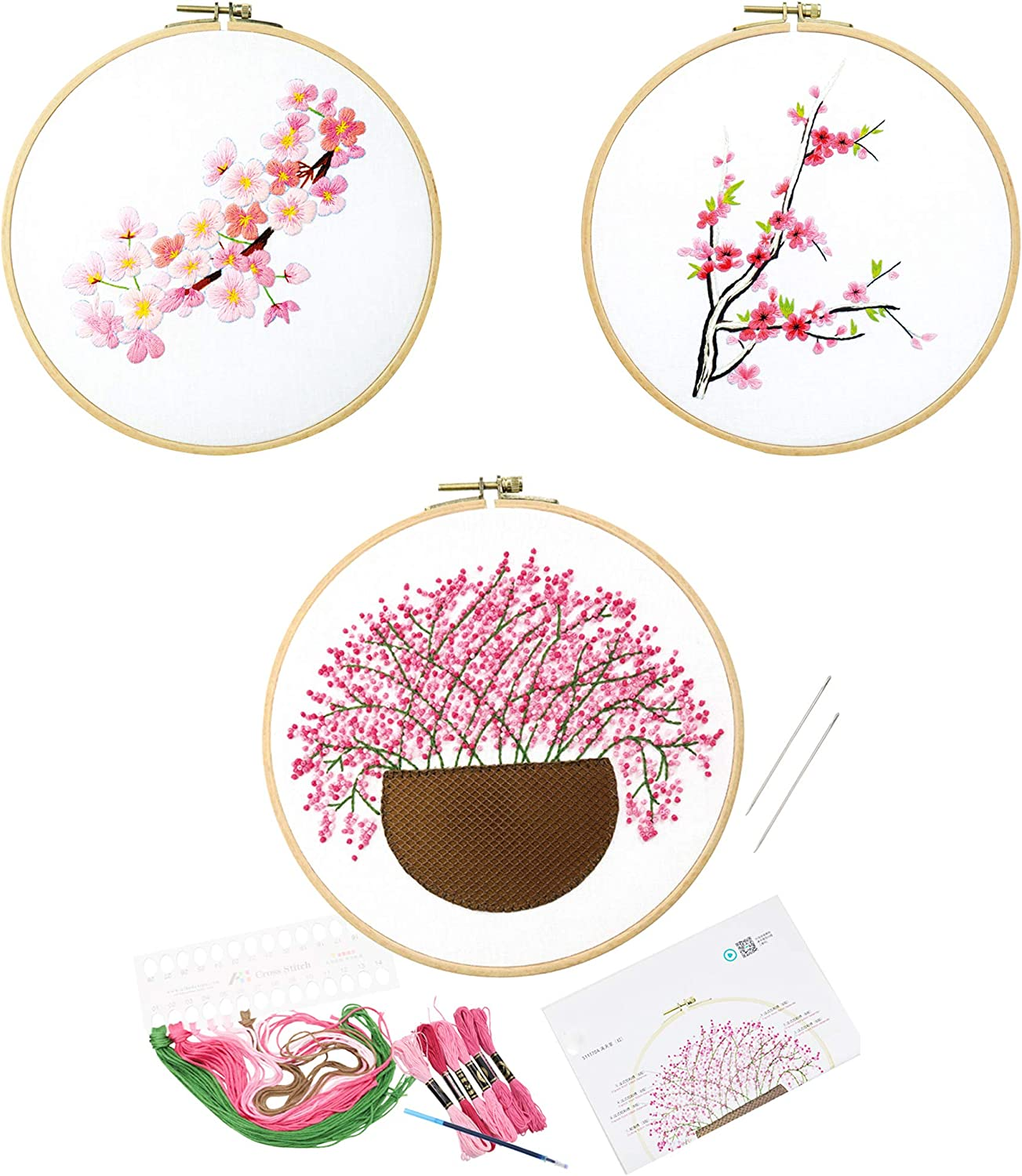 with 3 Embroidery Cloths with Plant Pattern 3 Pack Embroidery Starter Kit with Pattern and English Instructions 1 Embroidery Hoop with Threads and Needles Cross Stitch Set