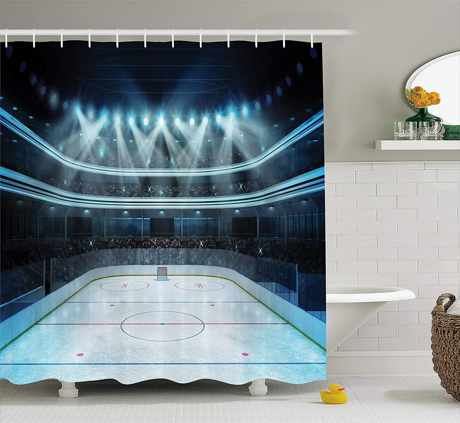 Presock Duschvorhänge, Hockey Shower Curtain, Photo of a Sports Arena Full of People Fans Audience Tournament Championship Match, Cloth Fabric Bathroom Decor Set with Hooks,60 * 72inch, Multicolor