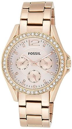 FOSSIL Montre Riley femme Élégante montre bracelet et cadran avec strass Multifonction : jour et mois Boîte de rangement et pile incluses