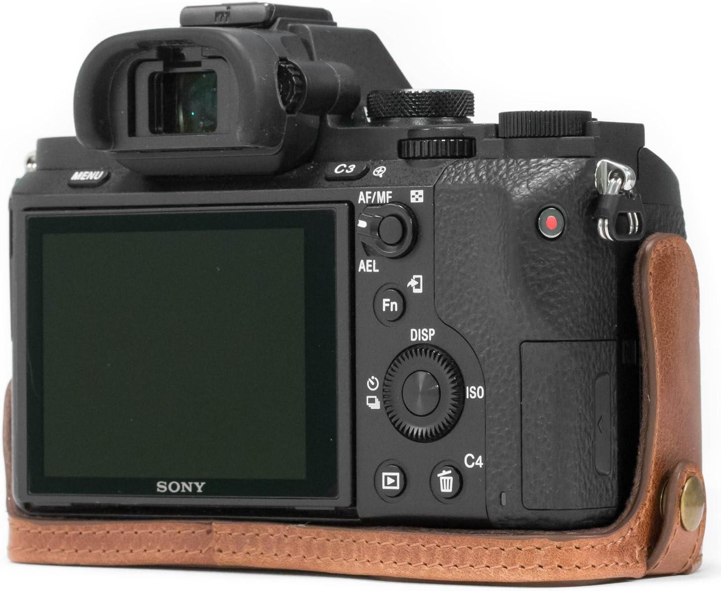 MegaGear Ever Ready Echtleder Kameratasche mit Trageriemen kompatibel mit Sony Alpha A7S II A7 II A7R II