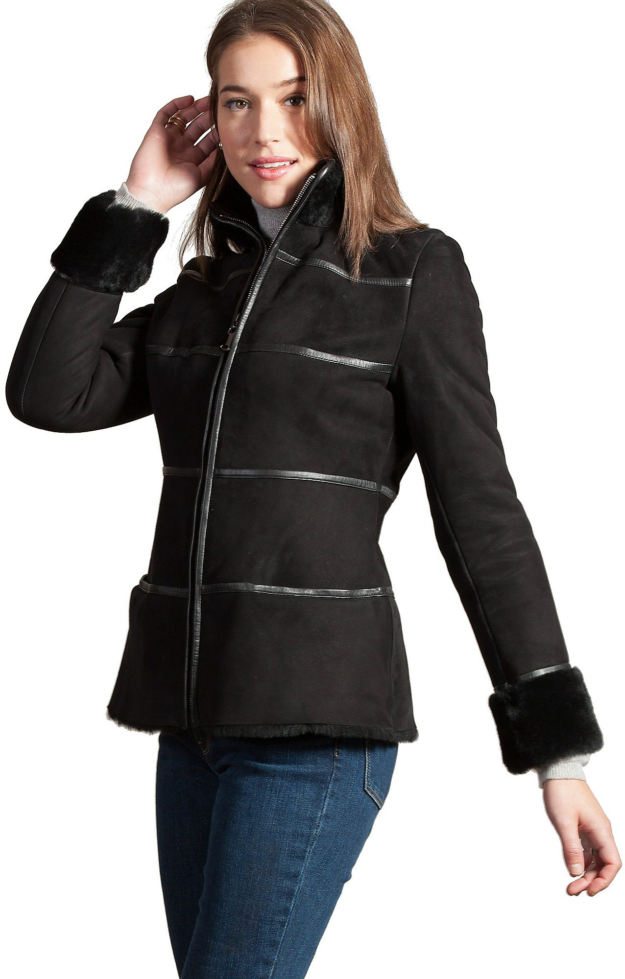 Jordan Spanish Shearling Sheepskin Coat, Black, Size Medium (6) by Overland Sheepskin Co