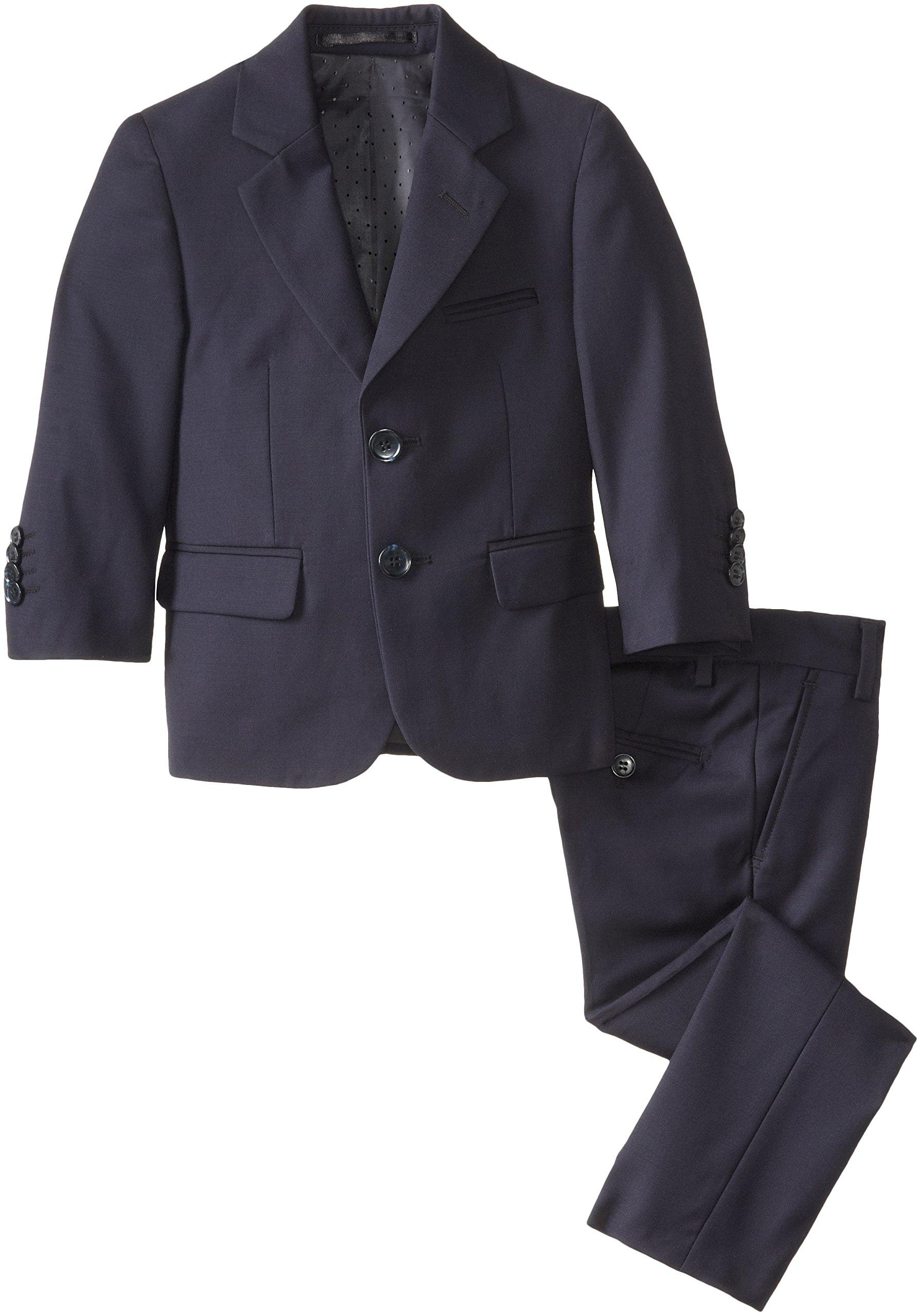 Isaac Mizrahi Black Label Little Boys' Slim-Fit Wool 2 Piece Solid Suit, Navy, 7