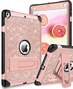 iPad 6th Generation Case,DUEDUE Case for iPad 9.7 2017/2018,iPad Air 2,iPad Pro 9.7,3 in 1 Glitter Hard PC Shockproof Durable Kickstand Full Body Protective Cover for iPad 9.7/iPad 5th Women,Rose Gold