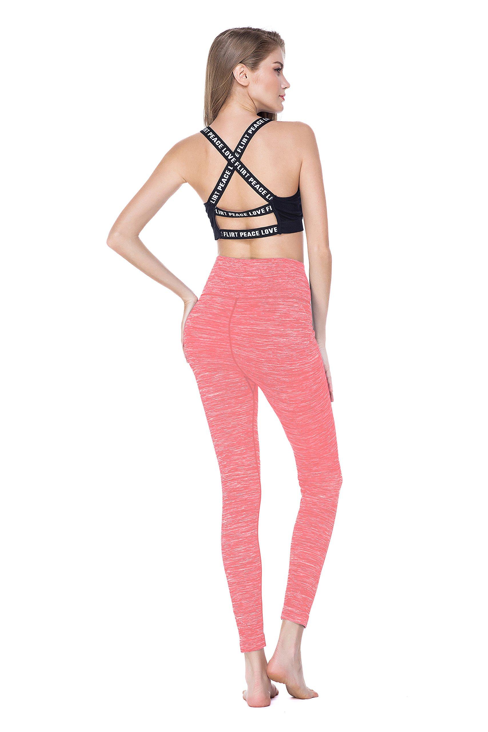 Women\'s Tummy Control Yoga Pants Leggings High Waist Running Tights 4 Way Stretch, Pink, S/M