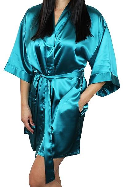 f2f42078022b Women s Satin Kimono Bridesmaid Short Robe with Pockets - Silky Feel Modern  Cut at Amazon Women s Clothing store