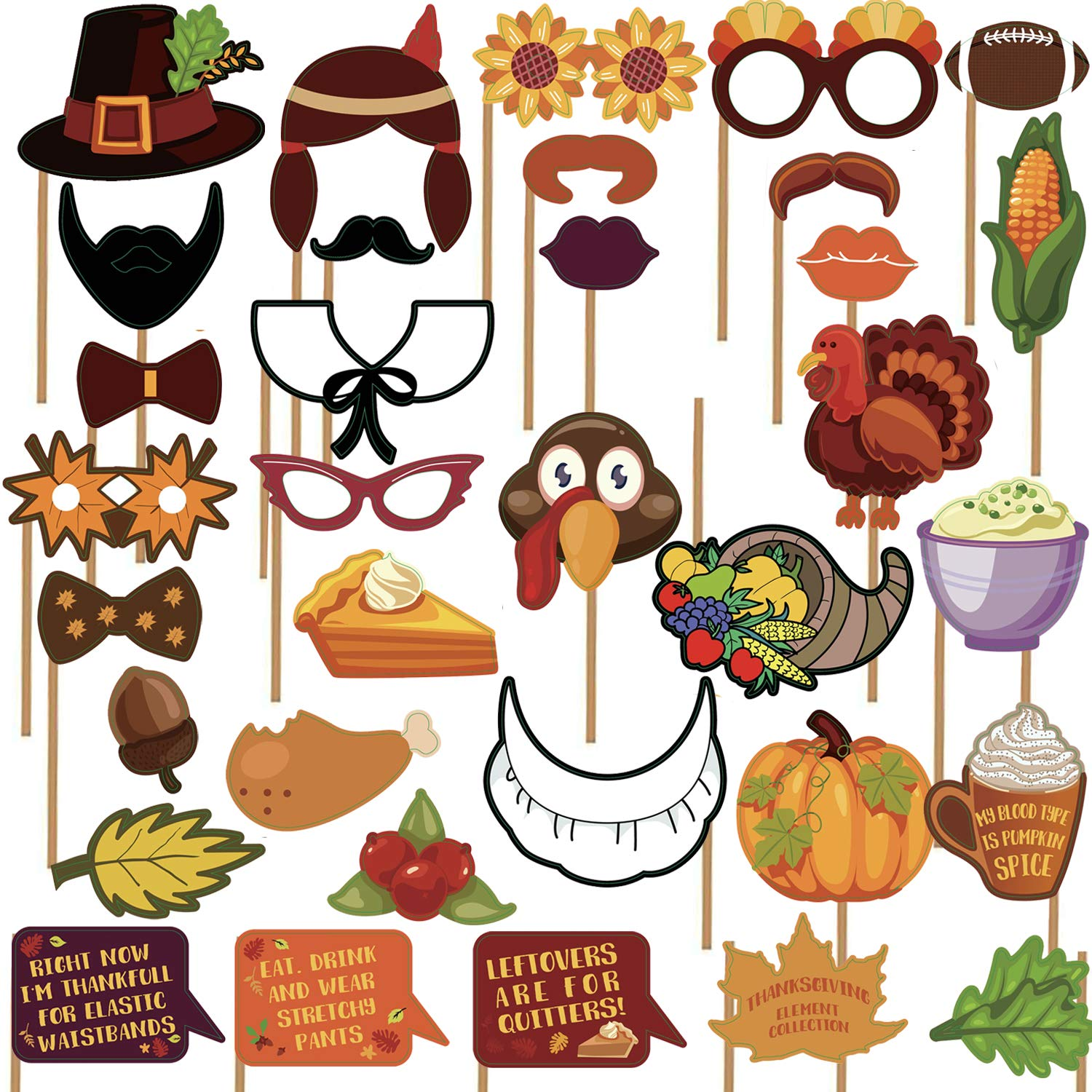 KatchOn Thanksgiving Photo Booth Props 34 DIY Kits Thanksgiving Day Decorations,Happy Thanksgiving Party Favor Element of Pumpkin Turkey Bread Corn Fruits Maple Leaves for Autumn Party Fall Party