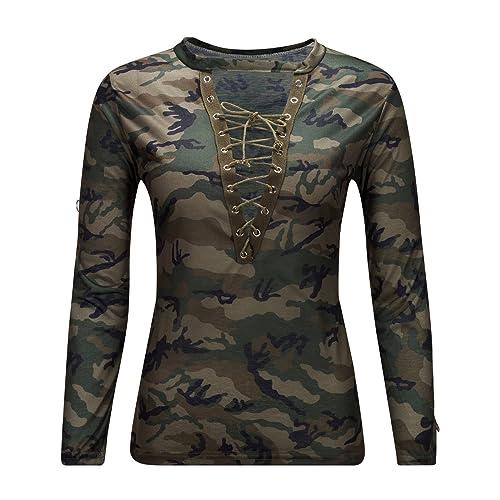 Beauty7 Camisetas Camuflaje Mujeres Deep V Cuello Ventaje Manga Larga Lace Up Colores Camisetas Resp...